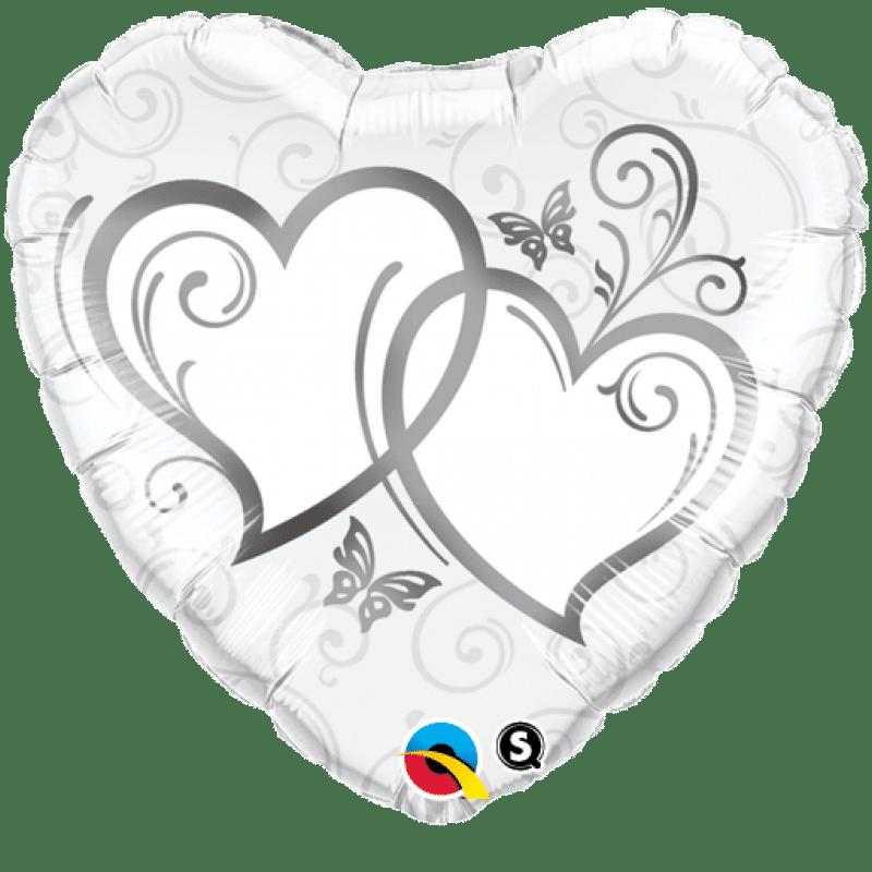 palloncini cuore intrecciato argento