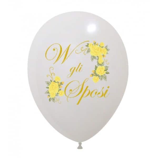 palloncini viva gli sposi con rose gialle