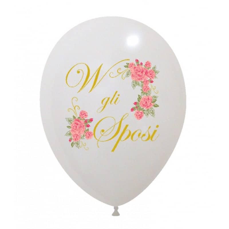 palloncini viva gli sposi con rose rosa