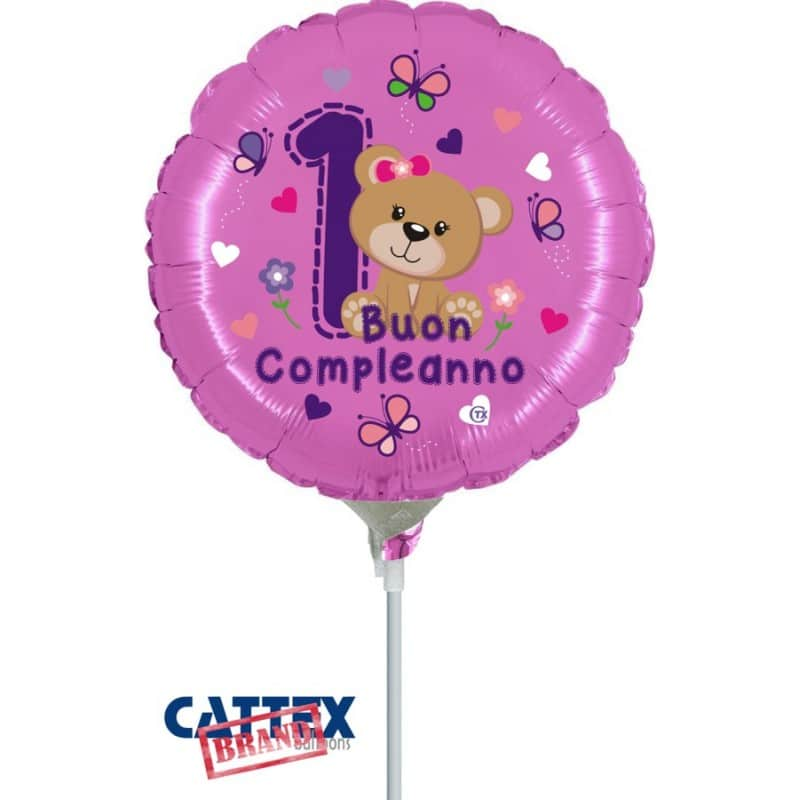 """Palloncini compleanno 1° Compleanno Orsetta Minishape (9"""")"""