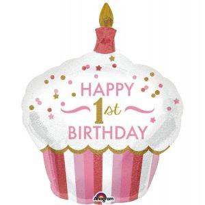 "Palloncini compleanno 1st Birthday Cupcake Bimba SuperShape (48"")"