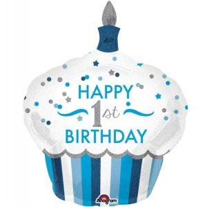 "Palloncini compleanno 1st Birthday Cupcake Bimbo SuperShape (48"")"