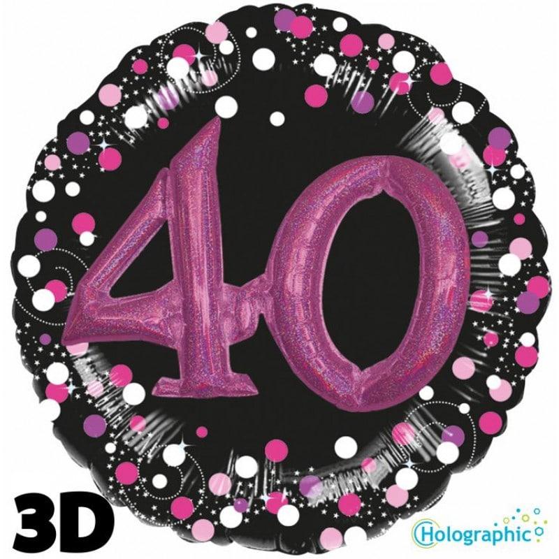 """Palloncini compleanno 40 Compleanno Scintillante Multi-Balloon Rosa (32"""")"""