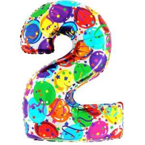 """Palloni numeri grandi - Numero """"2"""" Decorati"""