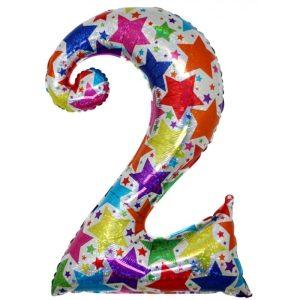 """Palloni numeri grandi - Numero """"2"""" Olografico Stelle"""