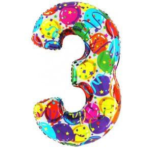 """Palloni numeri grandi - Numero """"3"""" Decorati"""