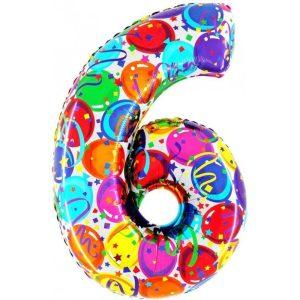 """Palloni numeri grandi - Numero """"6"""" Decorati"""
