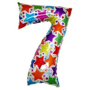 """Palloni numeri grandi - Numero """"7"""" Olografico Stelle"""