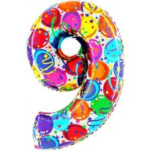 """Palloni numeri grandi - Numero """"9"""" Decorati"""