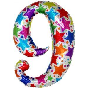 """Palloni numeri grandi - Numero """"9"""" Olografico Stelle"""