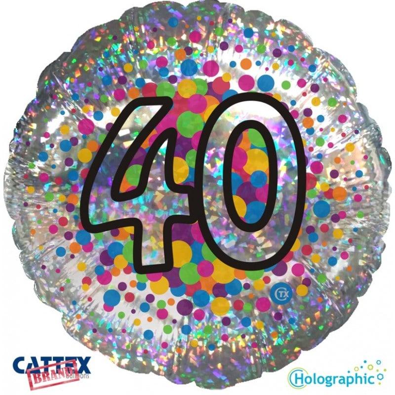 """Palloncini compleanno 40 Olografico (18"""")"""
