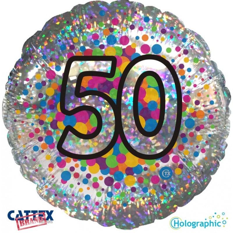 """Palloncini compleanno 50 Olografico (18"""")"""