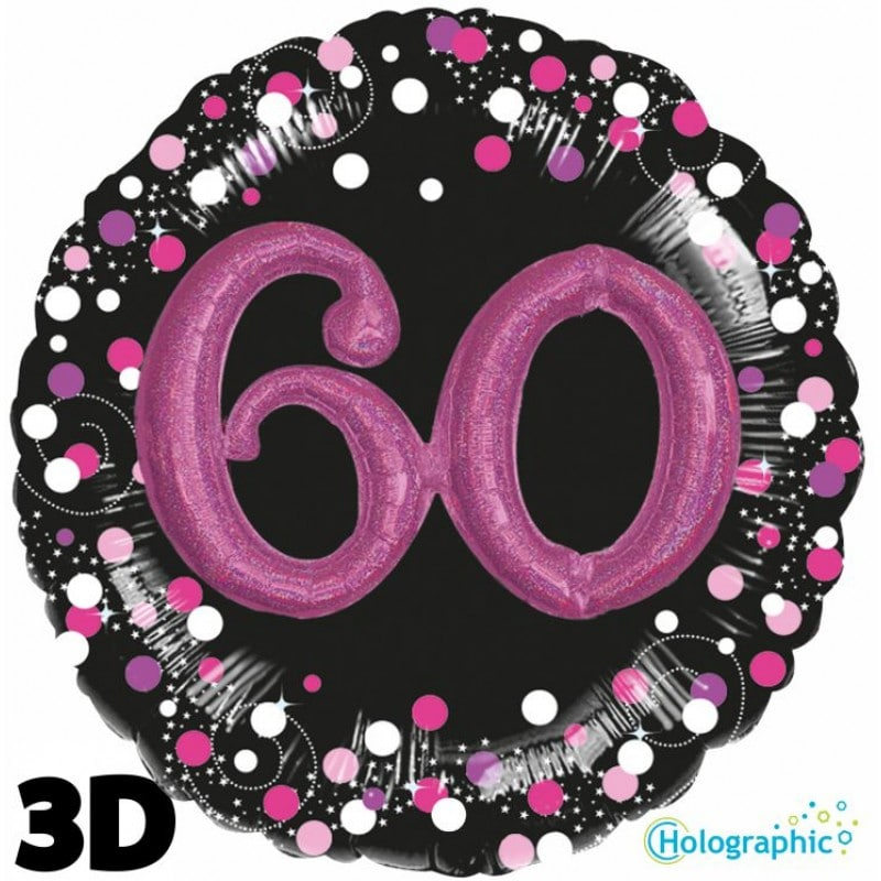 """Palloncini compleanno 60 Compleanno Scintillante Multi-Balloon Rosa (32"""")"""