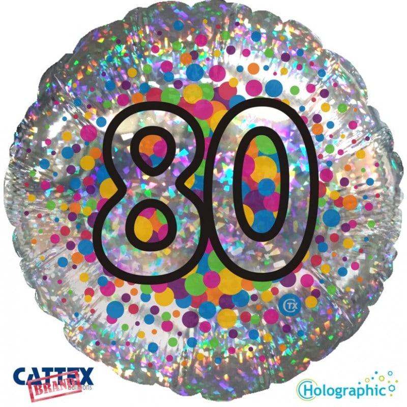 """Palloncini compleanno 80 Olografico (18"""")"""