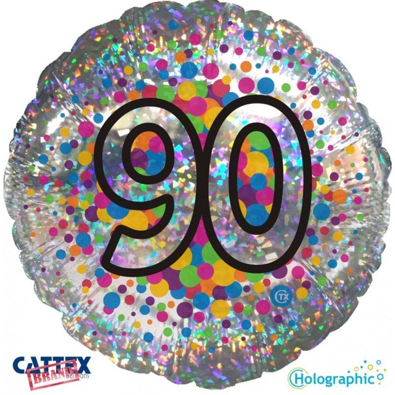 """Palloncini compleanno 90 Olografico (18"""")"""