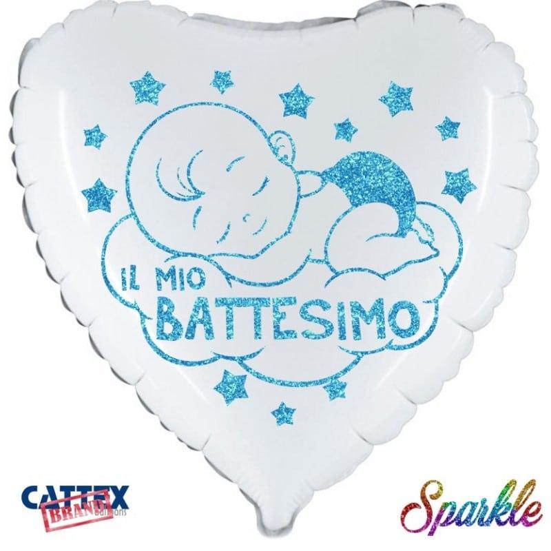 """Palloncini mylar religiosi Battesimo Bimbo Sparkle (18"""")"""
