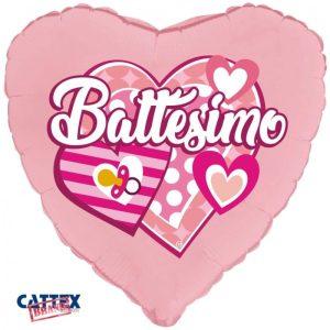 "Palloncini mylar religiosi Battesimo Cuori Rosa (18"")"