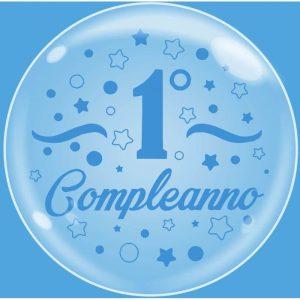 """Palloncini compleanno Bubble Party - Primo Compleanno Celeste (24"""")"""