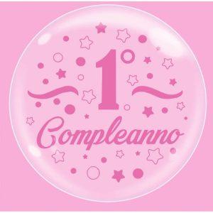 """Palloncini compleanno Bubble Party - Primo Compleanno Rosa (18"""")"""