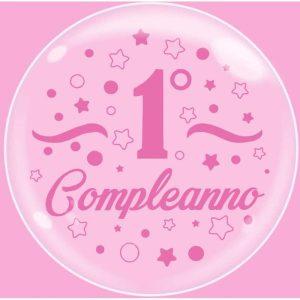"""Palloncini compleanno Bubble Party - Primo Compleanno Rosa (24"""")"""
