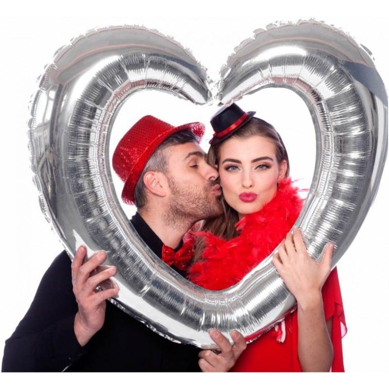 """Palloncini amore - cornice a cuore argentata (32"""")"""