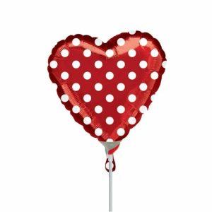 "Palloncini amore - cuore rosso pois minishape (9"")"