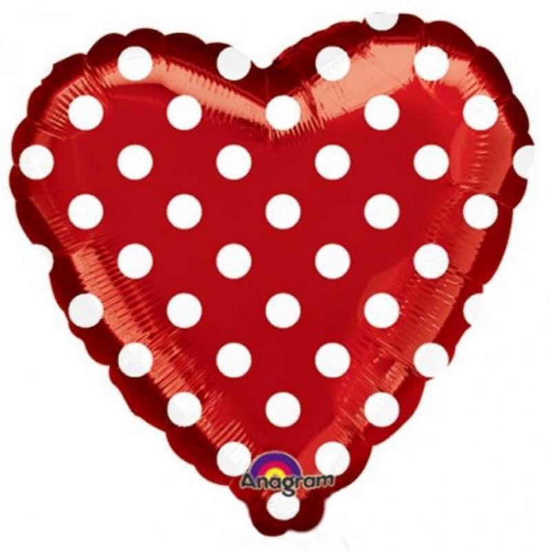 "Palloncini amore - cuore rosso pois xl® (18"")"
