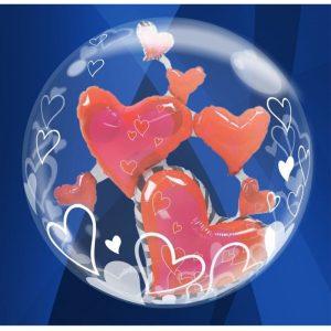 """Palloncini amore - cuori rossi double-bubble (24"""")"""