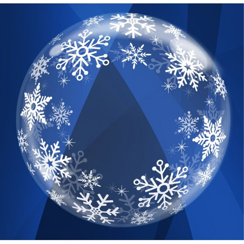 """Palloncini natalizi - deco bubbles fiocchi di neve (24"""")"""