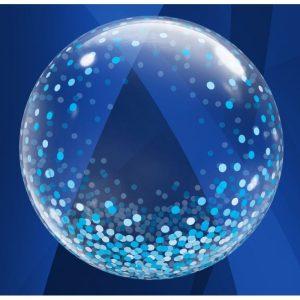 """Palloncini bubbles - deco bubbles pioggia di coriandoli blu (24"""")"""