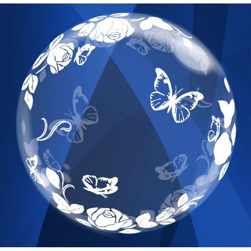 """Palloncini bubbles - farfalle e rose deco-bubble (24"""")"""