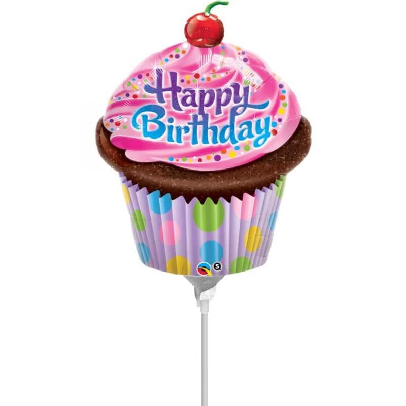 "Palloncini compleanno Happy Birthday Cupcake Minishape (14"")"