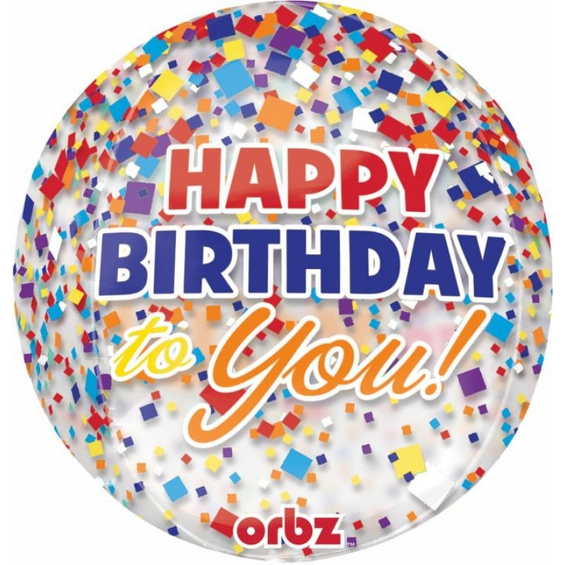 "Palloncini mylar Orbz Happy Birthday - Orbz (16"")"