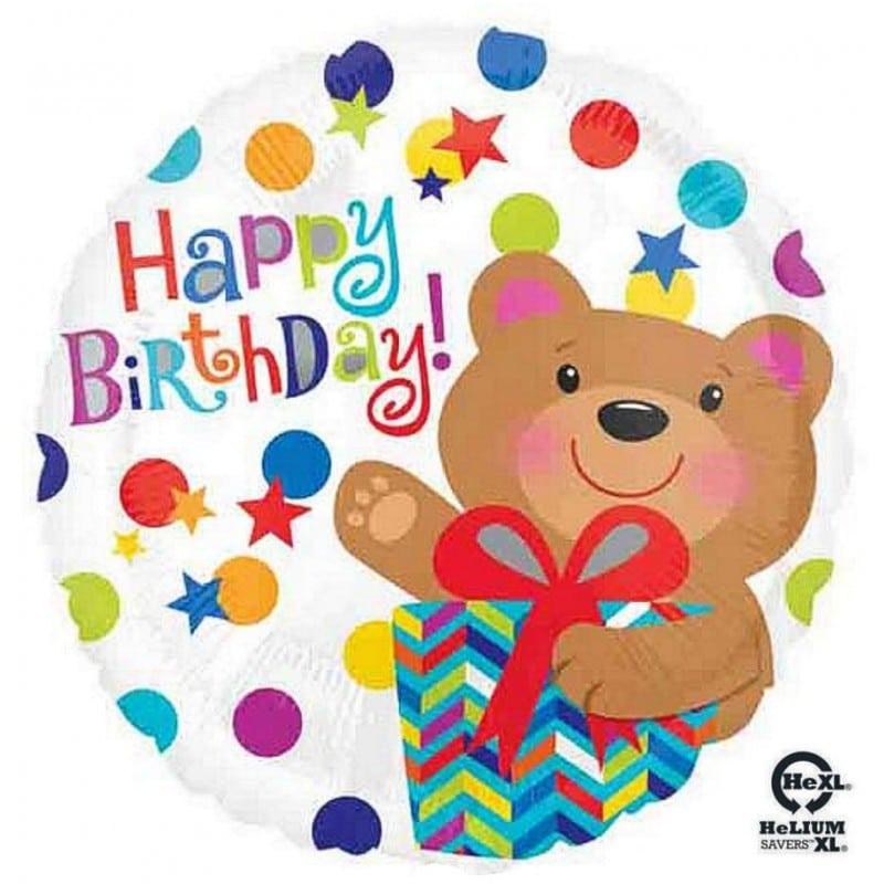 """Palloncini compleanno Happy Birthday Orsetto HeXL® (18"""")"""