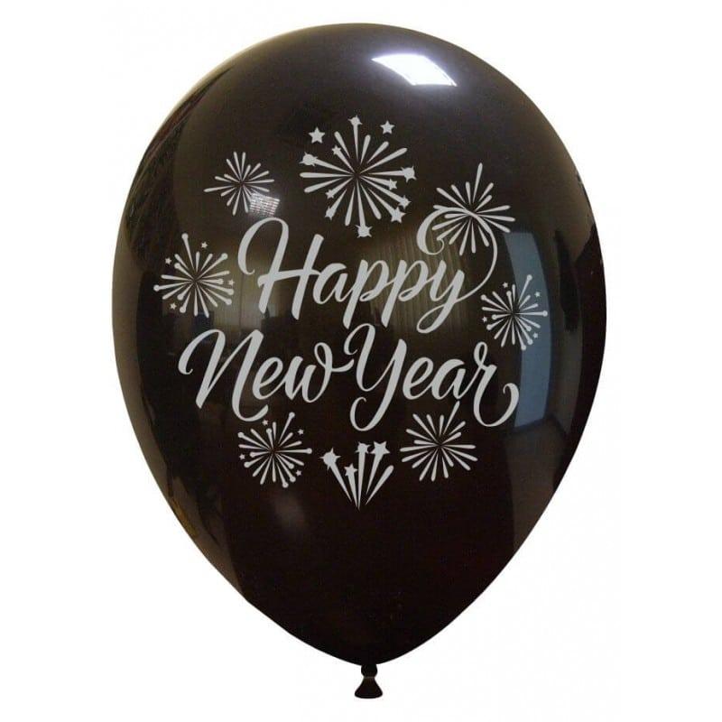 Palloncini natalizi - happy new year argentato