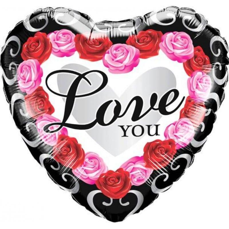 "Palloncini amore - love you cornice rose (18"")"