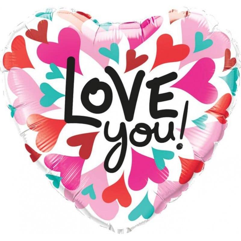 """Palloncini amore - love you cuori colorati (18"""")"""