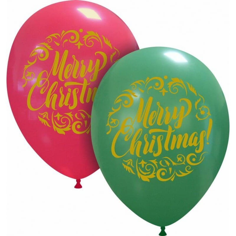 Palloncini natalizi - merry christmas dorato