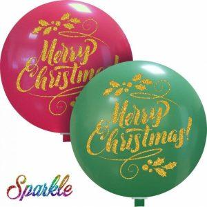 Palloncini natalizi - merry christmas (sparkle)