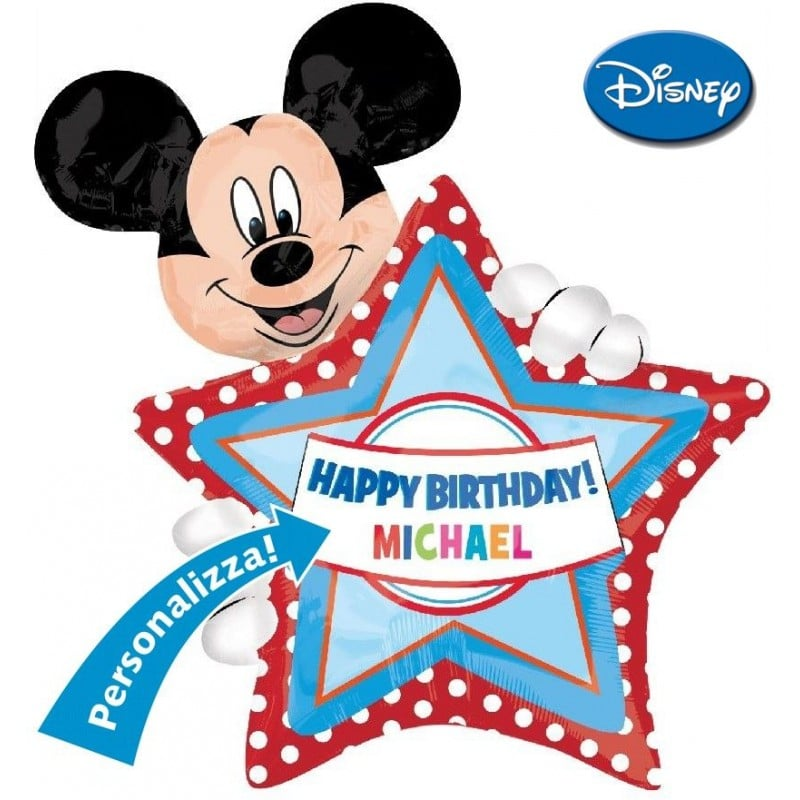 """Palloncini compleanno Mickey Birthday Personalizzabile XL® SuperShapes™ (36"""")"""