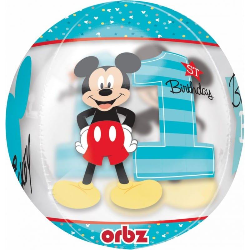 """Palloncini compleanno Mickey Primo Compleanno - Orbz (16"""")"""
