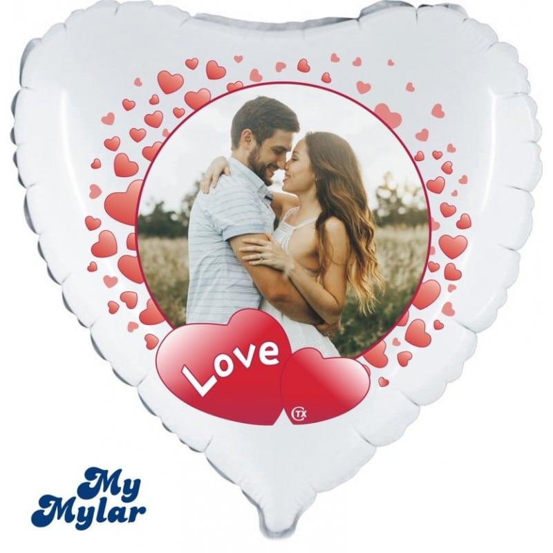 "Palloncini amore - mymylar - cornice love + foto (18"")"