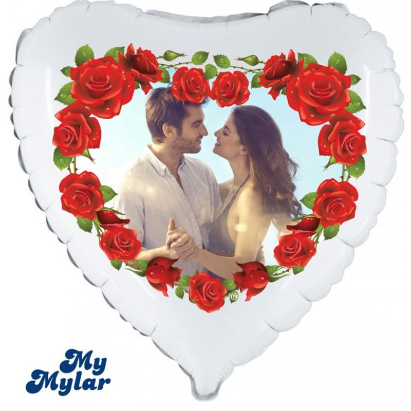 """Palloncini amore - mymylar - cuore rose + foto (18"""")"""