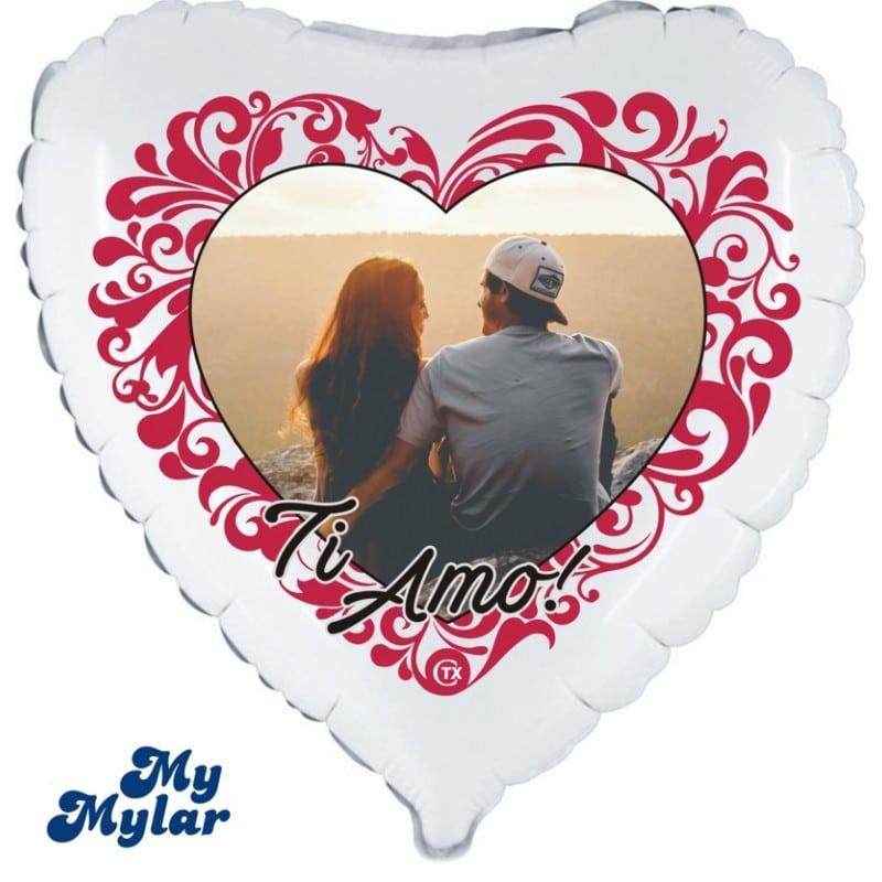 """Palloncini amore - mymylar - cuore ti amo + foto (18"""")"""