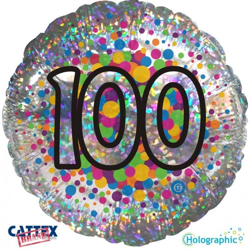 """Palloncini compleanno 100 Olografico (18"""")"""