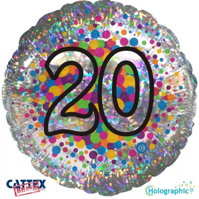 """Palloncini compleanno 20 Olografico (18"""")"""