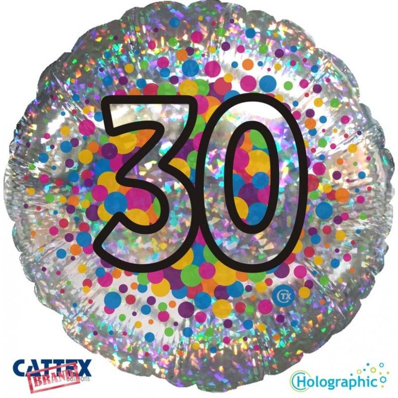 """Palloncini compleanno 30 Olografico (18"""")"""