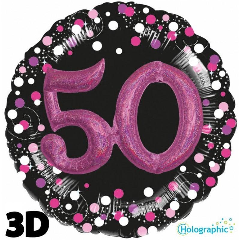 """Palloncini compleanno 50 Compleanno Scintillante Multi-Balloon Rosa (32"""")"""