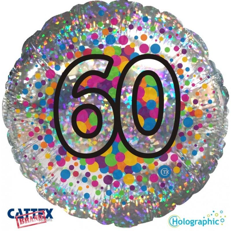 """Palloncini compleanno 60 Olografico (18"""")"""