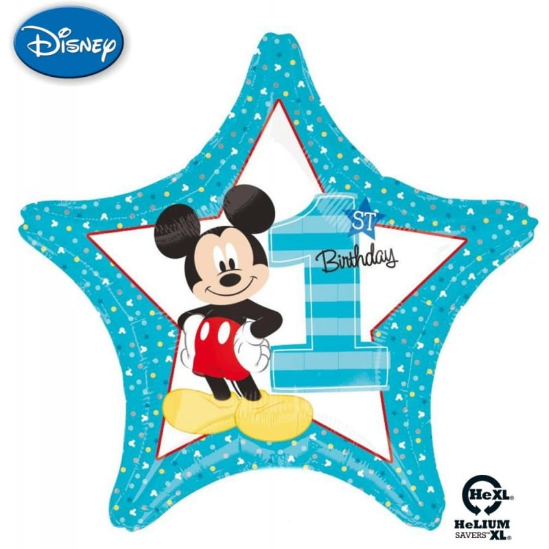 "Palloncini compleanno Mickey 1st Birthday Stella HeXL® (20"")"